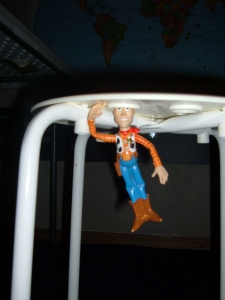 Woody + IKEA stool = ???