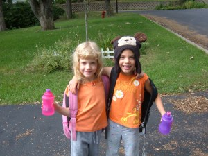 Got them to wear orange but was unable to talk Cassie out of wearing the bear hat.